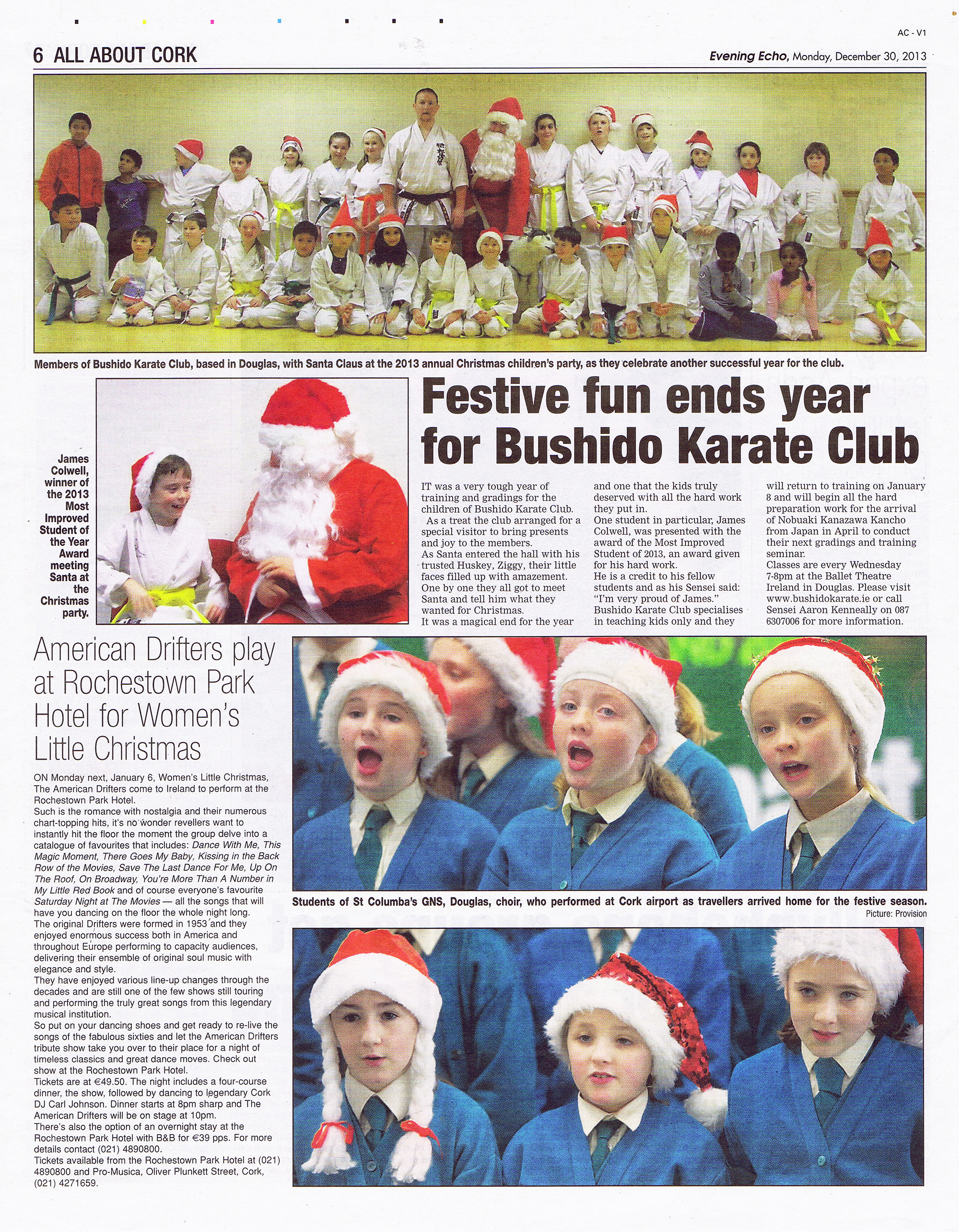 Evening Echo feature on the 30th December 2013 when the club had its Annual Bushido Karate Club Childrens Christmas Santa Party