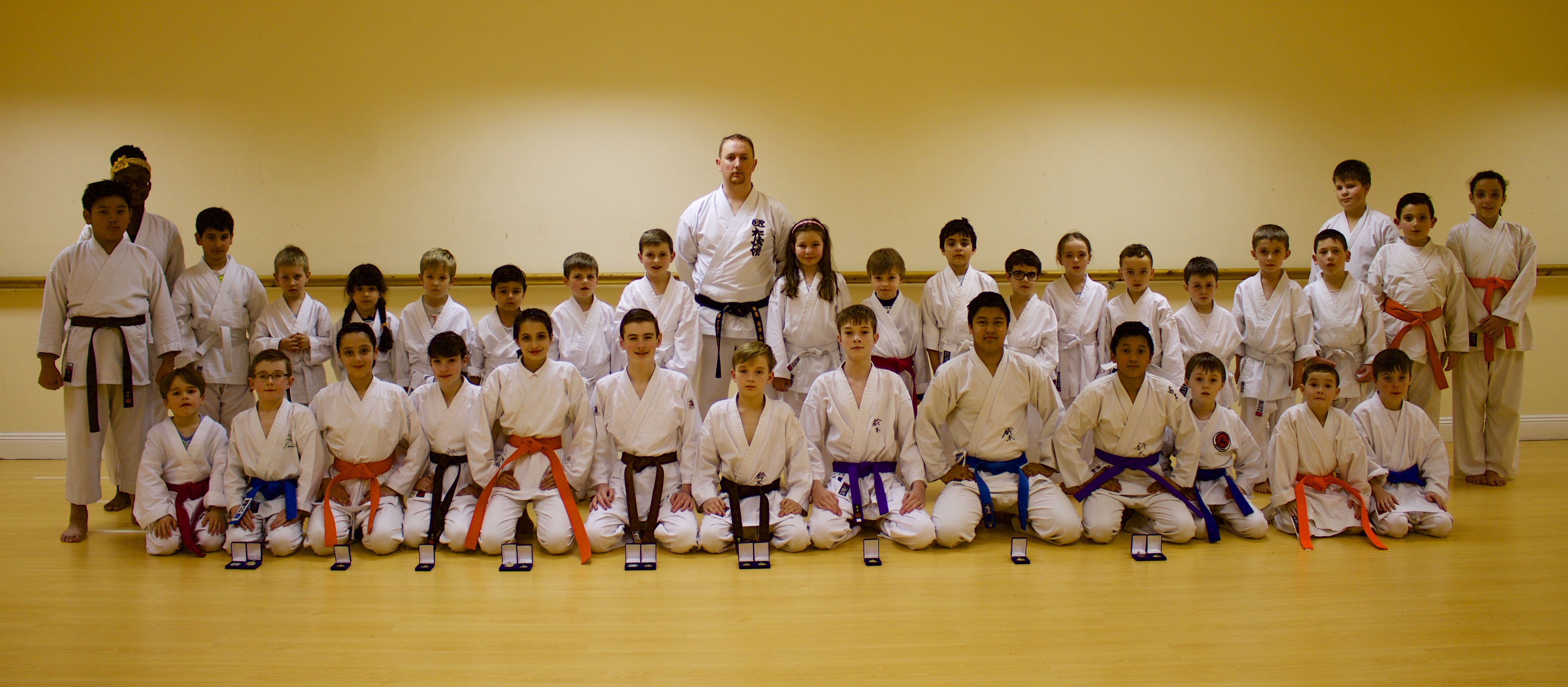 Bushido Karate Club members including members who won a massive 10 Gold, 1 Silver and 3 Bronze Medals at the 2015 SKIF Ireland National Championships