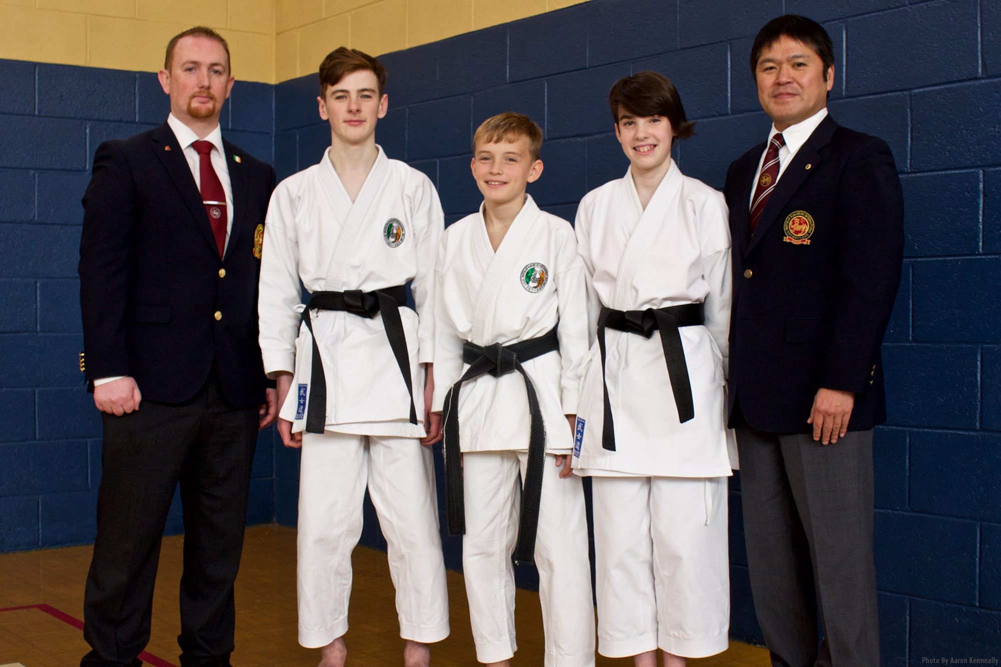 Bushido Karate Club congratulates Tom O Brien, Oisin O Sullivan and Elaina Laffan Twomey on getting their 1st Dan Black Belt from Shuseki Shihan Manabu Murakami 8th Dan SKIF at the November 2016 Grading and Training Seminar.  Also pictured Sensei Aaron Kenneally 5th Dan SKIF