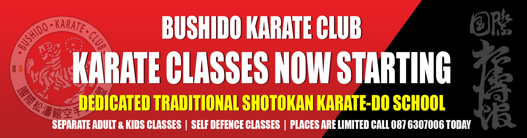 Karate Kids Classes Now Starting at Bushido.  Call 0876307006 for more information