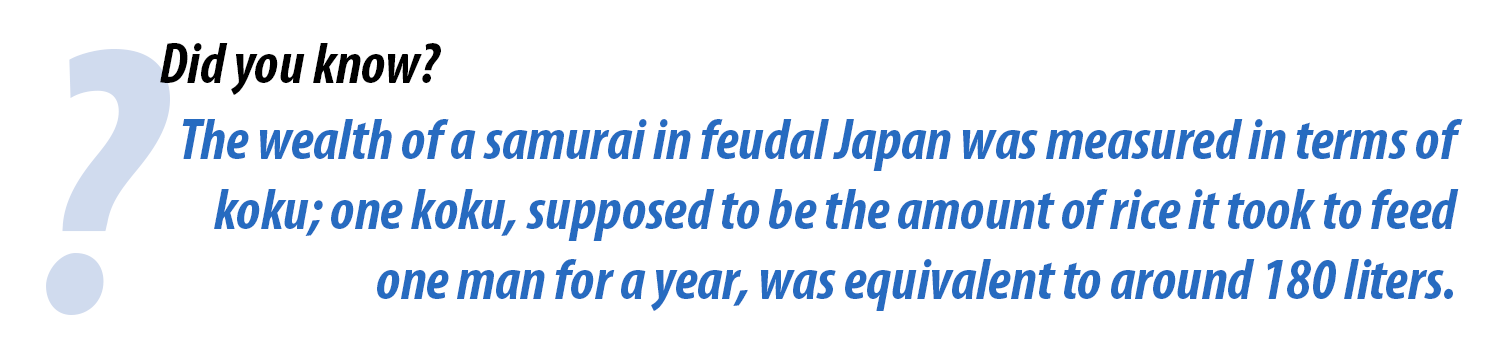 The wealth of a samurai in feudal japan was measured in terms of koku; one koku, supposed to be the amount of rice it took to feed one man for a year, was equivalent to around 180 liters